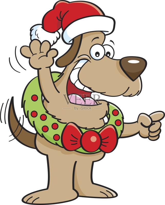 卡通狗-犬科的 节日 宠物 绘画插图 轮廓 卡通 指着 四季 狗 尾巴 帽子
