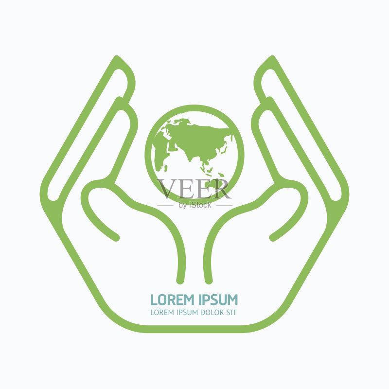 概念和主题 符号 式样 手 形状 自然 计算机制图 身份 现代 地球形 绿