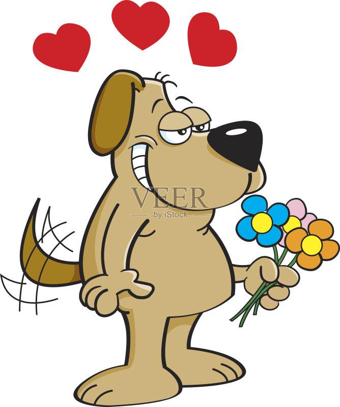 卡通狗-幽默 犬科的 情人节 宠物 绘画插图 卡通 狗 尾巴 乐趣 动物 情感