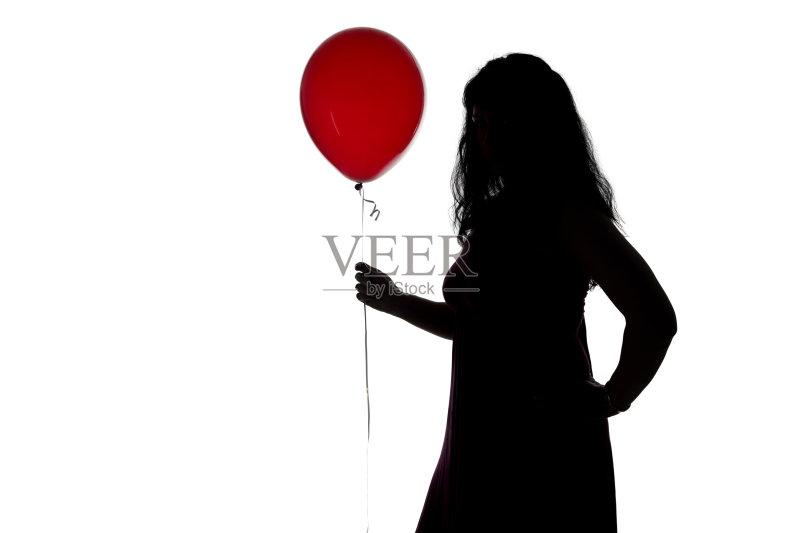 形象-人 转 白色 女人 穿衣服 红色 气球 手 从容态度 臀 仅女人 头发 神