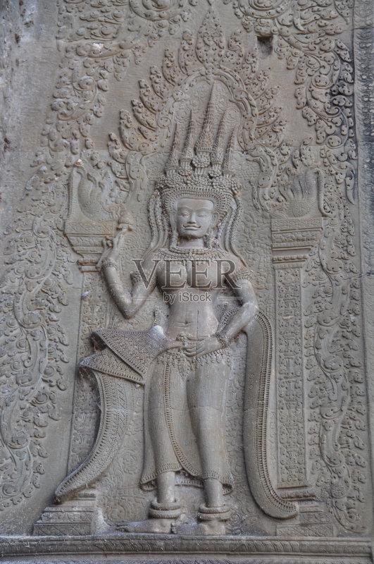 化 高棉文明 浮雕雕刻 非凡的 2015年 僧院 远古的 雕像 美人 成年人 图片