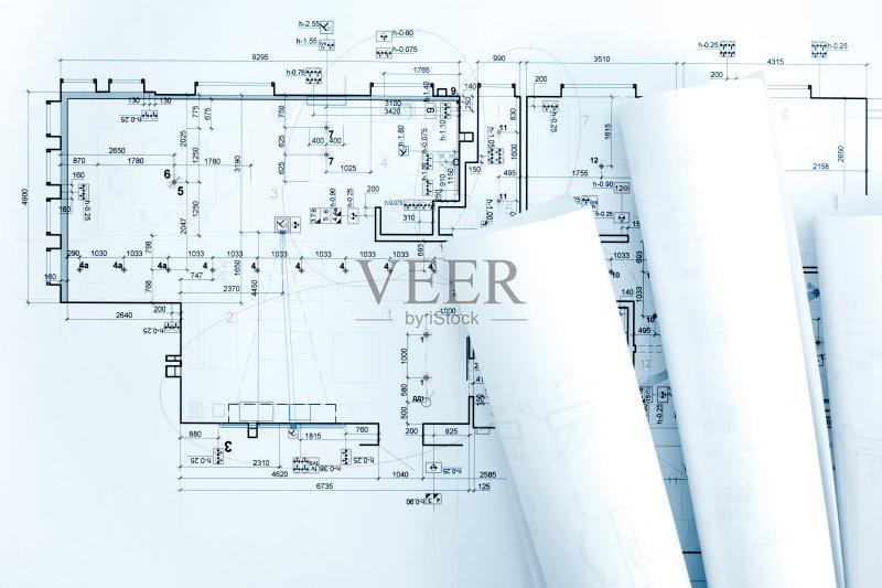 图纸-设计 蓝图 想法 文档 建筑业 普通住宅区 比例 卷起 线条 工业 阶调