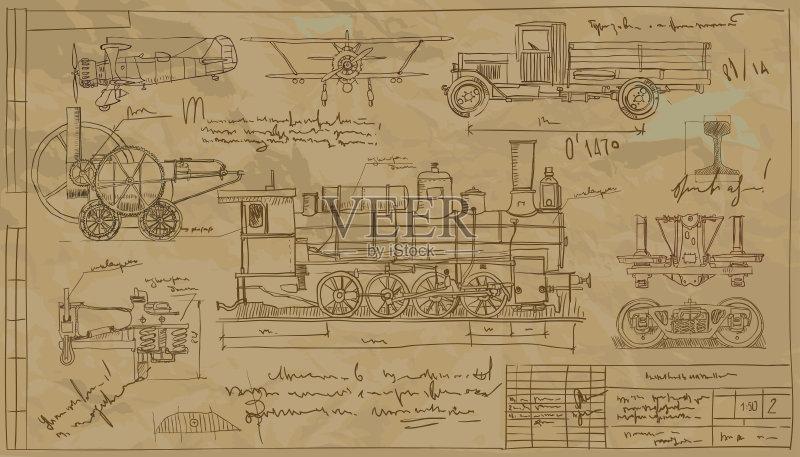 图纸-想法 风 符号 飞机 陆用车 运输 螺旋桨 迅速 旅行 部分 轮胎 痕迹 图片