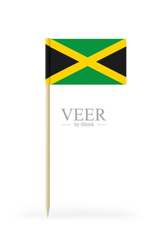 取食签 三维图形 平坦的 小的 计算机制图 牙买加国旗 旗帜 纸 牙买加
