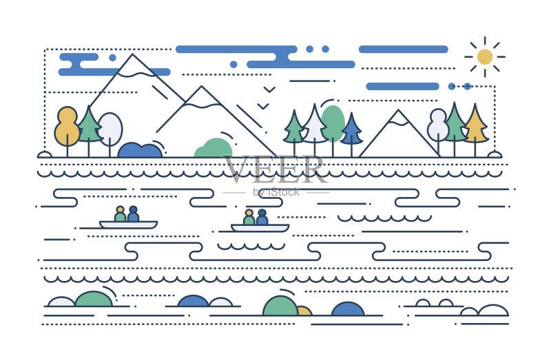线路-人 网站模板 想法 信息图表 冒险 船 皮划艇 生活方式 旅行 地形 部
