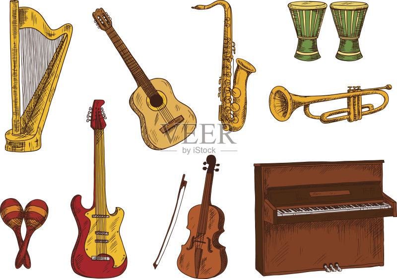 图形学 设计 乐器弦 概念和主题 式样 摇滚乐 吉他 萨克斯 音乐节