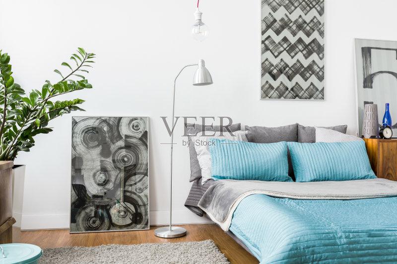 家居-室内植物 设计 华贵 住宅内部 植物 卧室 住宅房间 毯子 灰色 装饰图片