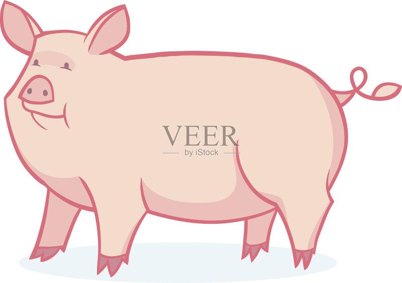 计算机制图 剪贴画 微笑 性格 小牛 宠物 可爱的 绘画插图 蹄 猪 腹腔