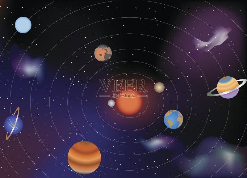 科学 地球 太阳系 太阳系仪 绘画插图 木星 星系 有序 卫星 金星 轨道图片