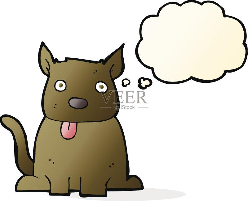 卡通狗-快乐 文化 绘画插图 乱画 矢量 伸出 剪贴画 狗 思想气泡框 画画