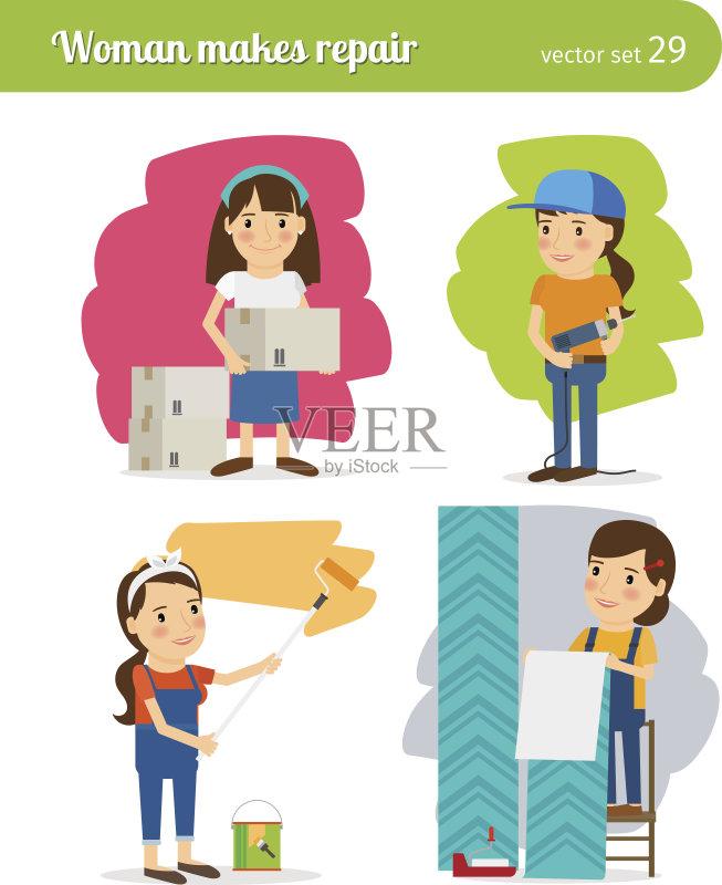 筑业 墙 家庭作业 女性 装饰 生活方式 母亲 工作 微笑 青少年 豪宅 商