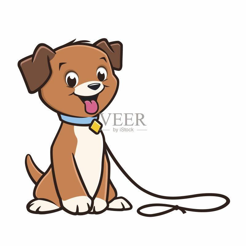 卡通狗-宠物 可爱的 绘画插图 幼小动物 宠物牵引带 狗链 小狗 吉祥物