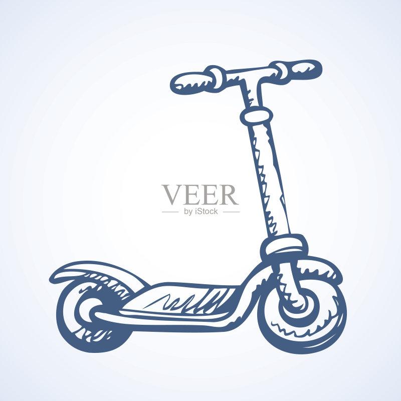 铅笔画 休闲活动 卡通 符号 运输 陆用车 脚踏车 运动 把手 生活方式 小