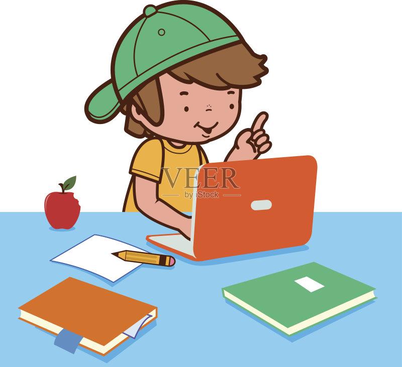 子 儿童 家庭作业 教育 技术 学习 打字 互联网 进行中 男孩 知识 儿童