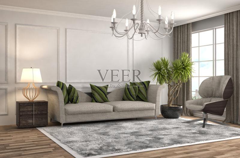 居室 扶手椅 家具 公寓 无人 装饰 室内 沙发 现代