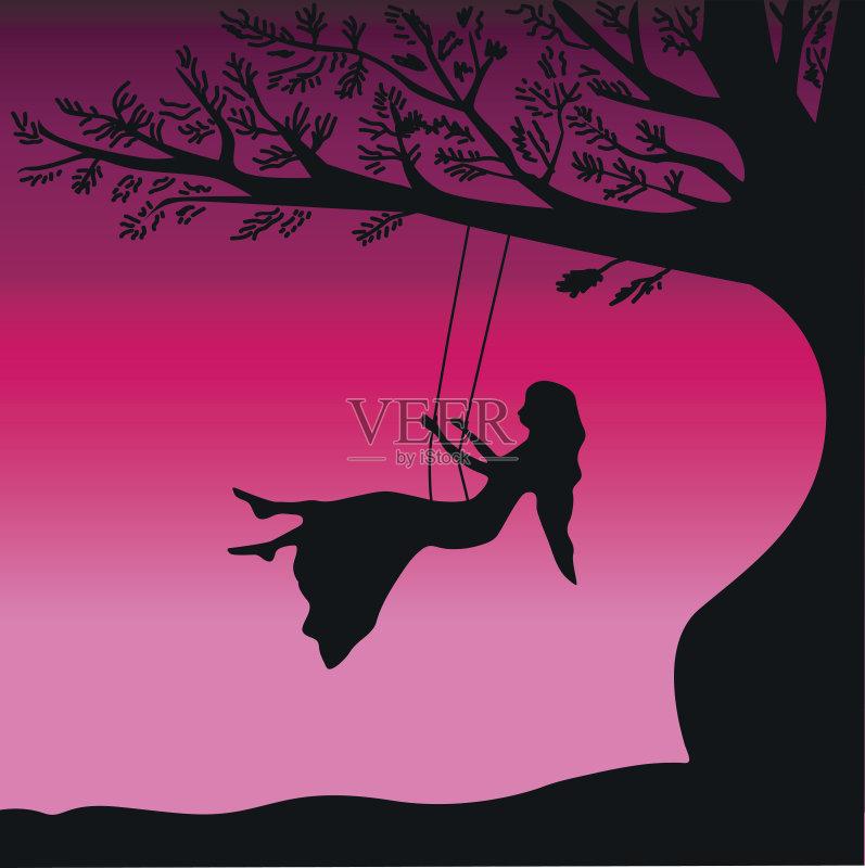 摇摆 欢乐 梦想 收集 枝 自然 儿童 装饰 荡秋千 小的 季节 享乐 幻想 背景图片
