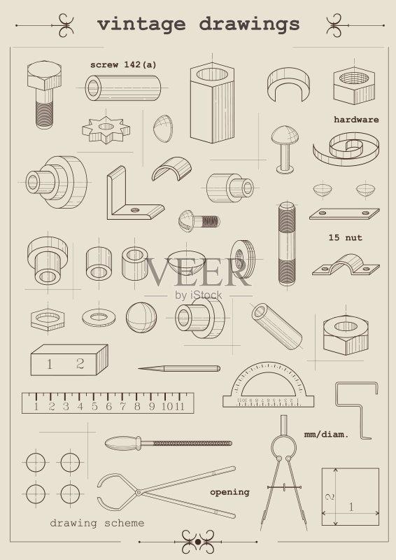 图纸-螺钉 绘画插图 商业金融和工业 螺母 螺丝 设备用品 铆钉 无人 古