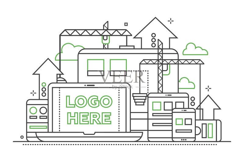 设计图-计算机 人 一个物体 网站模板 想法 信息图表 文档 建筑业 符号