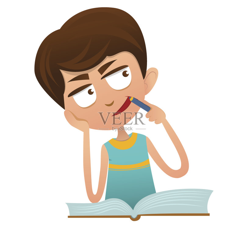 童 教育 家庭作业 小的 微笑 男孩 知识 童年 可爱的 儿童教育 绘画插图