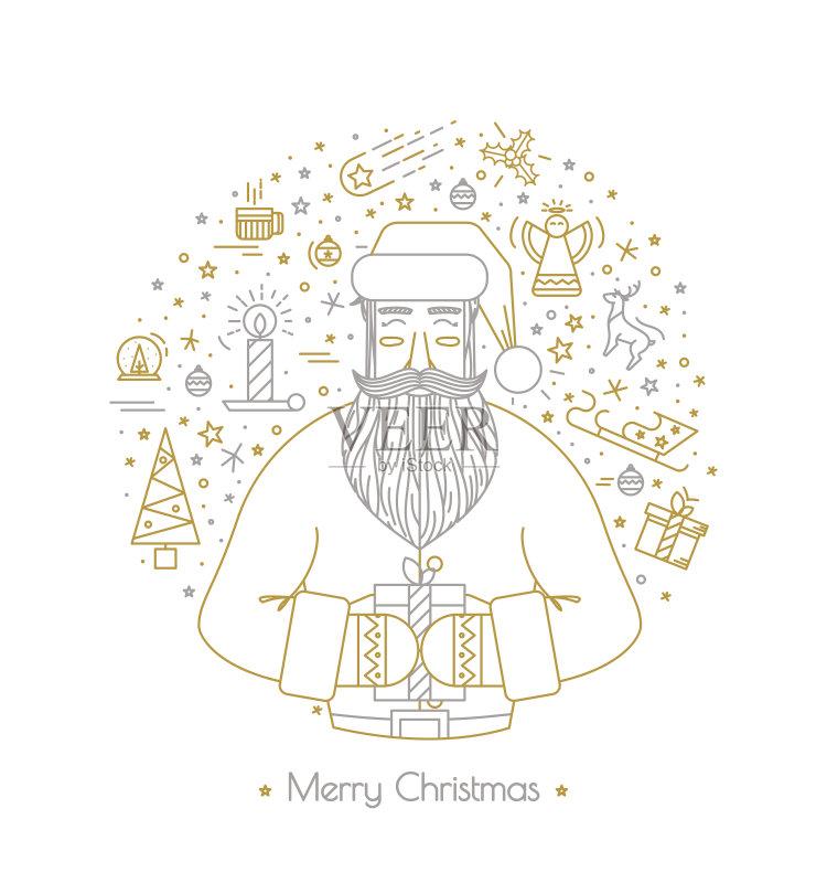 式样-节日 星形 白色 符号 排除 圣诞老人 驯鹿 背景幕 礼物 装饰 部分