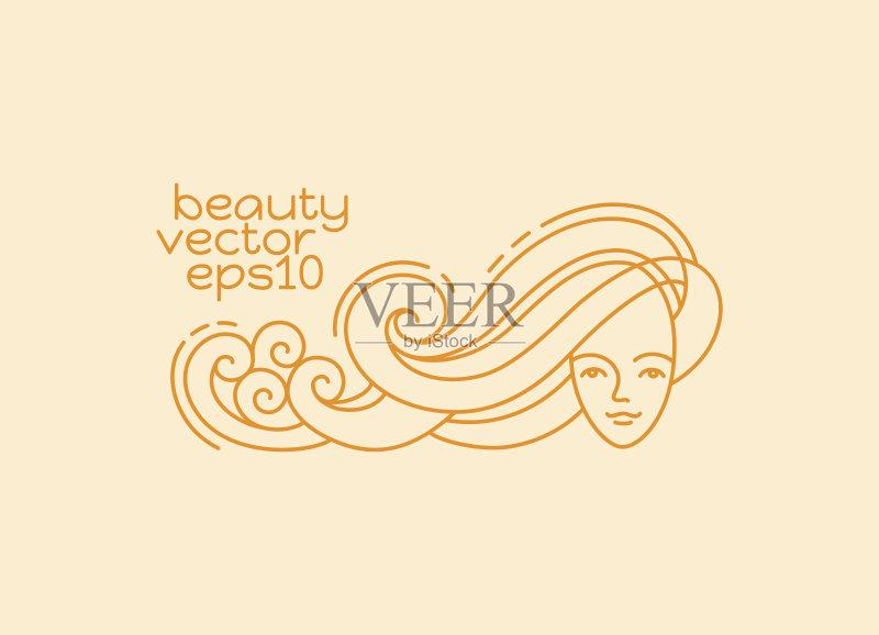 logo- 瓶子 少女 符号 SPA美容 头发 自然 女性 生活方式 青少年 化妆用品