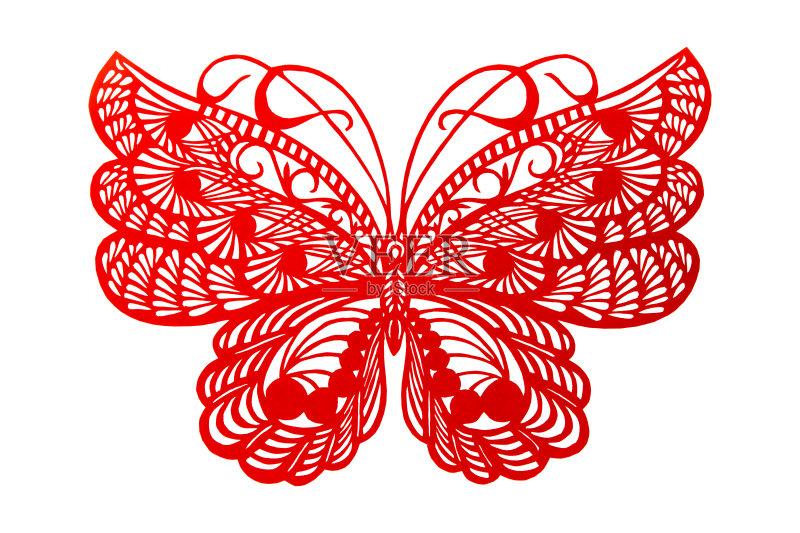 剪纸-蝴蝶 文化 绘画插图 移开 红色 美术工艺 工艺品 昆虫 祝福 无人 花图片