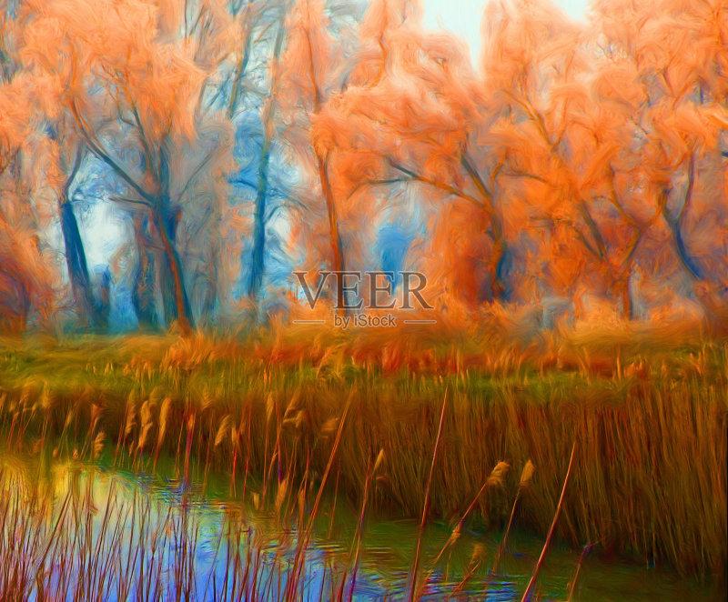 风景画-芦苇 秋天 草原 明亮 叶子 植物 笔触 褶边 天空 枝 自然 纹理 艺