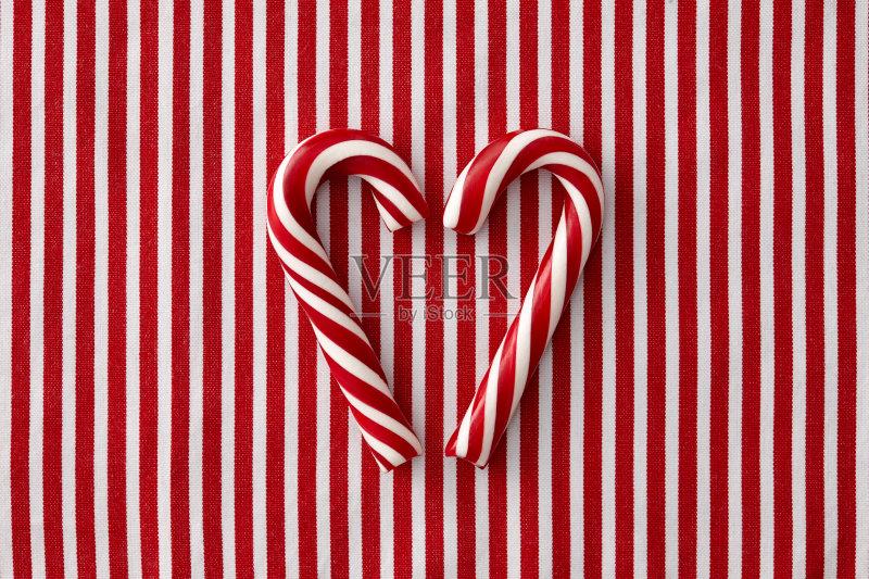 条纹-甘蔗糖 节日 设计 冬天 成一排 心型 符号 式样 甜食 形状 平衡 装饰