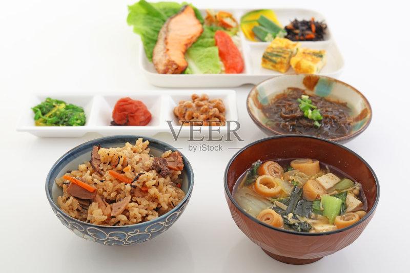 冲绳县 日本料理 健康食物 早餐 配菜 丰富 健康生活方式 青葱刷 葱