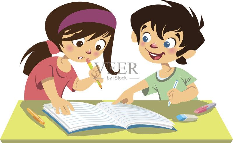 作业-女孩 卡通 看 红色 休闲装 白色背景 儿童 相伴 学习 计算机制图 笔