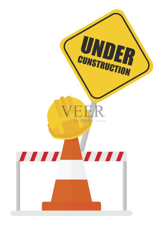图表 建筑业 符号 路 运输 禁止的 停止手势 栏杆 路障 工作 交通标志