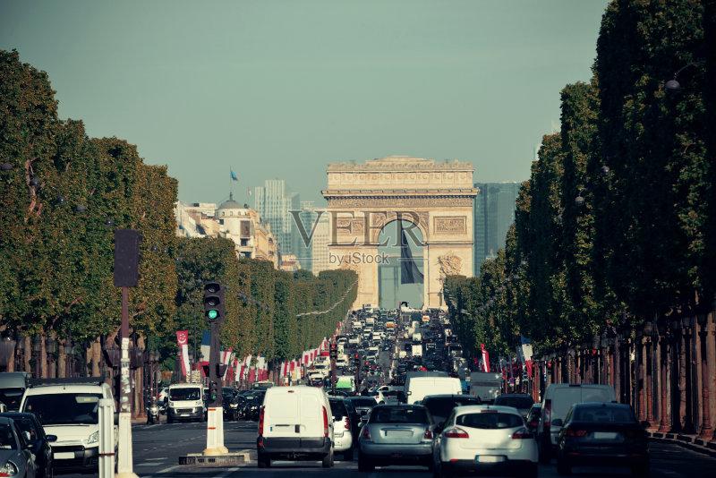 街景-著名景点 市区路 首都 凯旋门 法国 无人 都市风景 欧洲 国际著名图片
