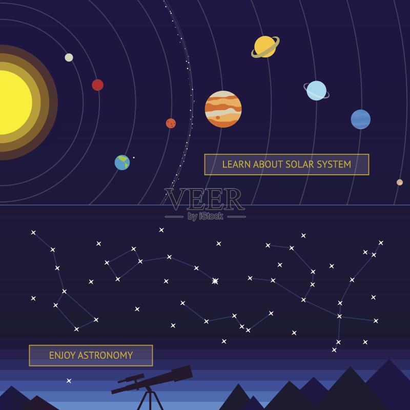 座 绘画插图 太阳系 布告 月亮 太空 冥王星 海王星 天文望远镜 无人 图片