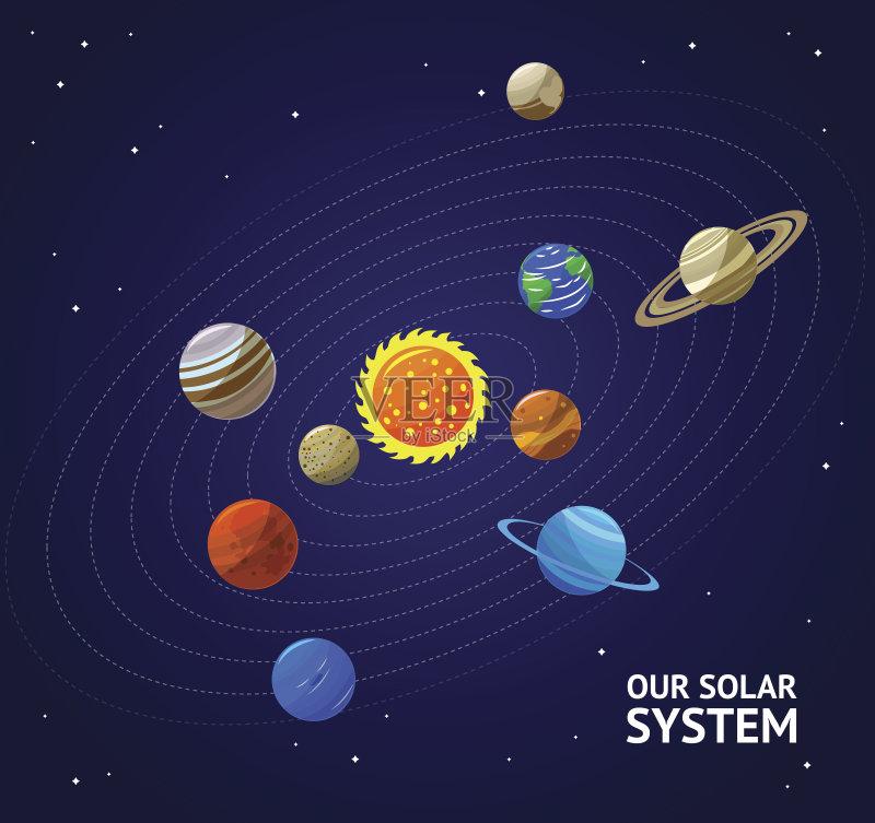 色 绘画插图 太阳系 星系 有序 水星 蓝色 太空 履带 无人 海王星 行星 图片