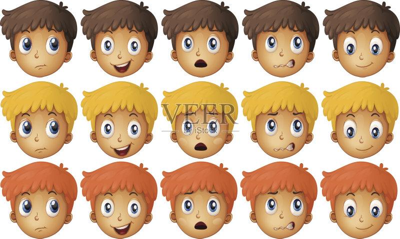 情绪-男孩 可爱的 恐怖 童年 一个物体 绘画插图 学生 情感 儿童 切断 触
