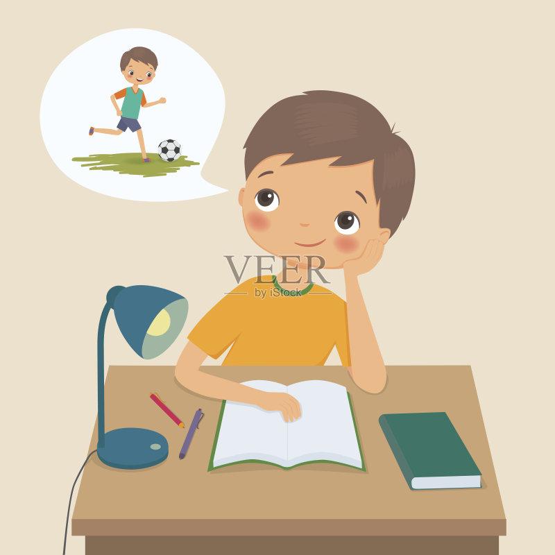 子 儿童 家庭作业 大学 教育 学习 生活方式 仅一名男孩 智慧 足球运动