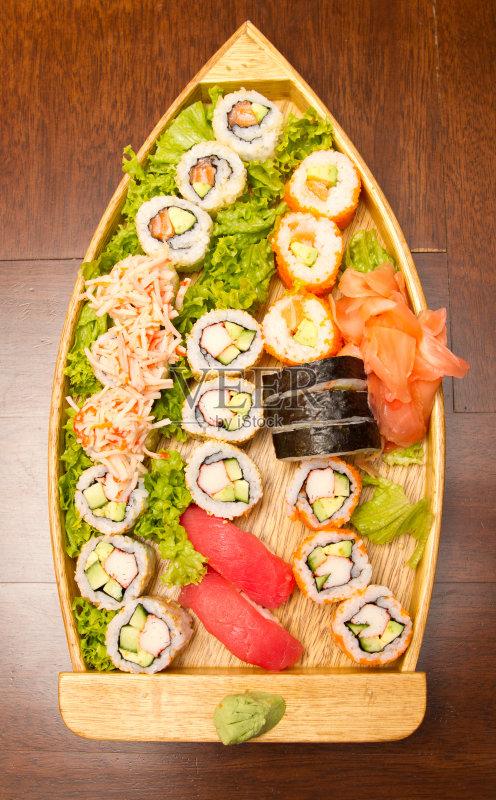 麻 鱼类 日本料理 寿司卷 饮食 健康食物 绿色 蔬菜 橙色 美味 鲔鱼 无