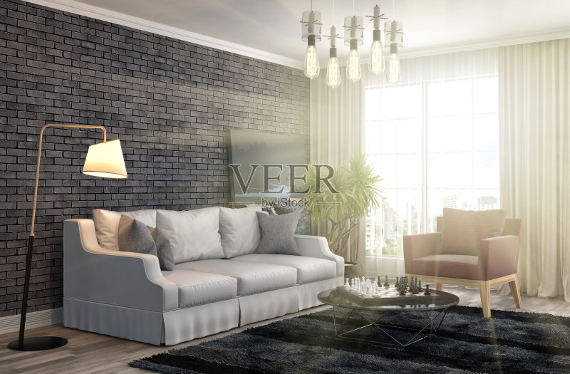 居室 扶手椅 家具 公寓 无人 装饰 室内 褐色 计算机制图 沙发 现代 空的