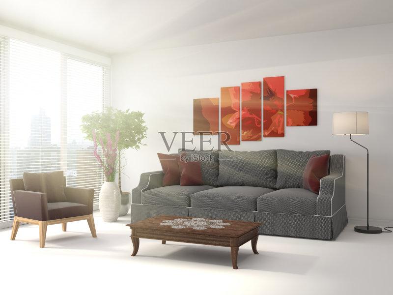居室 扶手椅 家具 公寓 无人 装饰 室内 计算机制图 普罗旺斯 沙发 现代