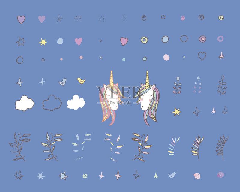 仙女 独角兽 梦想 符号 式样 彩虹 休闲装 装饰 马 幻想 背景 神迹 动物斑图片