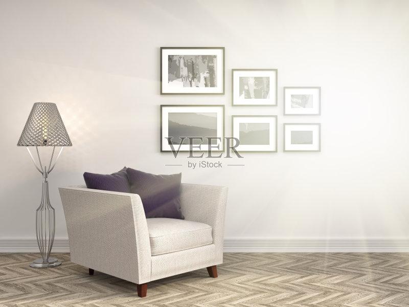 扶手椅 椅子 家具 花瓶 公寓 无人 装饰 室内 计算机制图 沙发 现代 空的