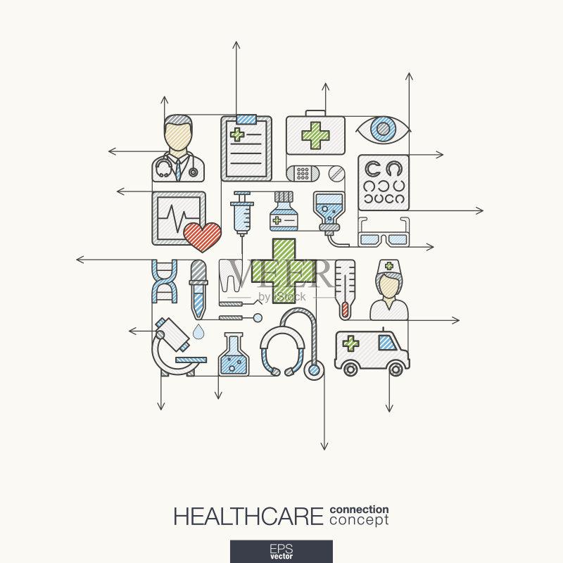 设计图-想法 忠告 草图 符号 连接 健康保健 技术 生活方式 团队 有序 草