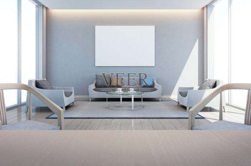 家居-天花板 白色 枕头 墙 椅子 茶几 生活方式 起居室 顶楼公寓 房地产 图片