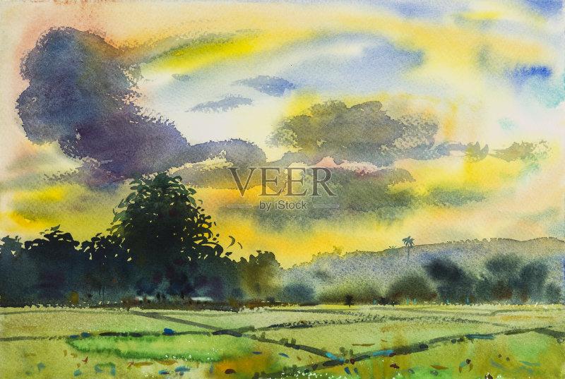 风景画-涂料 设计 环境 冬天 山 叶子 光 式样 手 天空 太阳 自然 纹理 艺
