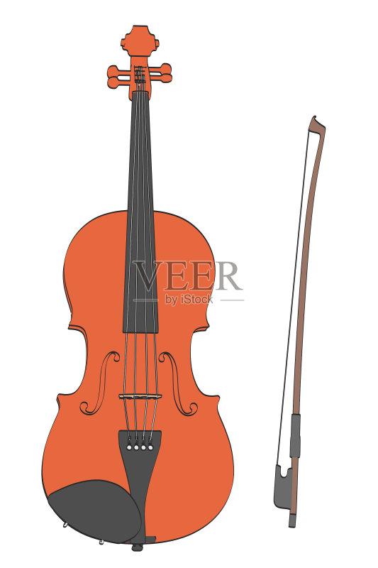 画插图 卡通 乐器弦 中提琴 大提琴 管弦乐队 性能组 无人 音乐 爵士乐