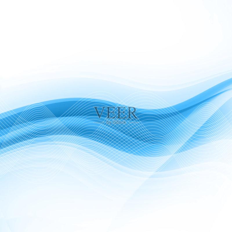 曲线-无人 背景幕 绘画插图 背景 蓝色