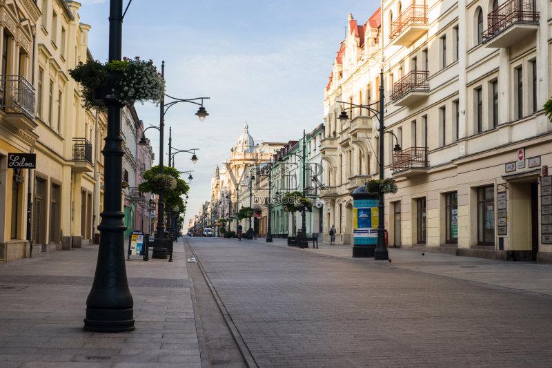 街景-无人 著名景点 市区路 城市生活 联排别墅 波兰 罗兹 户外图片