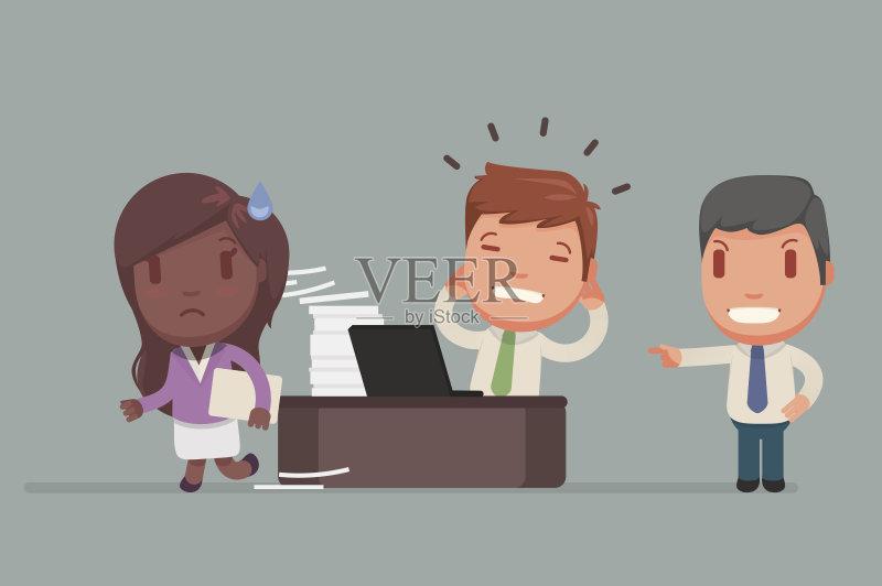 和工业 沮丧 情绪压力 商务 专业人员 矢量 模仿成人 组物体