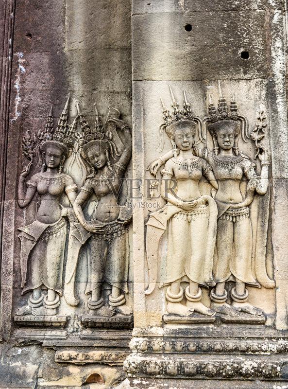 浮雕-围墙 纪念碑 印度教女神 女人 女神 古代文明 墙 吴哥窟 宗教 亚洲 图片