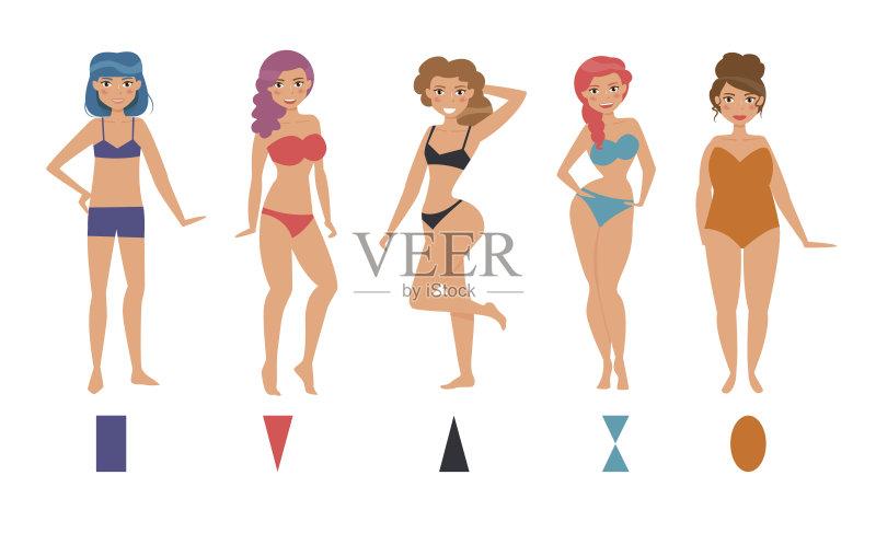 形象-人 时尚 女人 绘画插图 内衣 收集 臀 形状 腰部 人体结构 半装 艺术